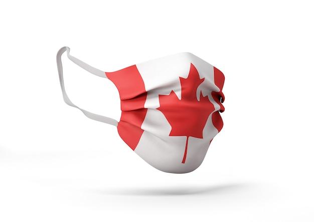 Grafica della maschera chirurgica con bandiera canadese maschera medica contro il coronavirus
