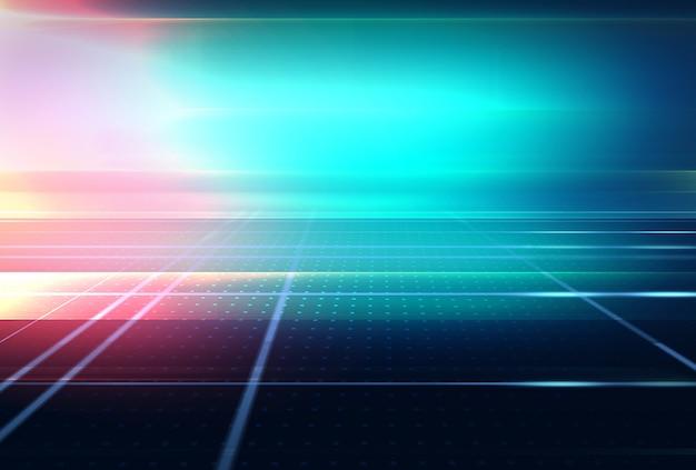 Sfondo spazio grafico astratto 3d con riflesso lente e linee luminose