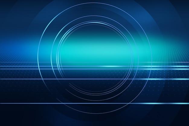 Sfondo grafico astratto di tecnologia più linee e cerchi che vanno al punto centrale