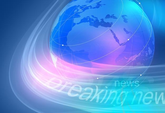Ultime notizie grafiche sfondo blu con globo terrestre