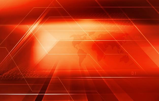 Sfondo digitale grafico a tema rosso con frecce evidenziate e mappa del mondo