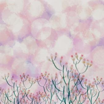 Priorità bassa della natura della primavera della pittura di colore pastello dell'acquerello del fiore dell'erba