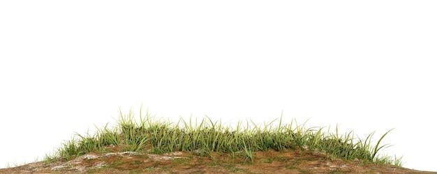 Patch di erba isolato su bianco per la progettazione di architettura o il rendering di altri use.3d