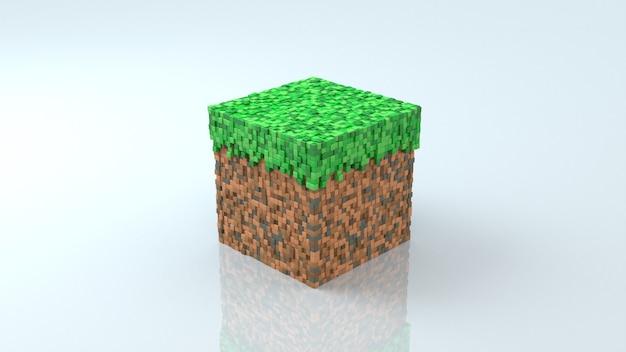 Blocco di erba e terra dallo sfondo bianco lucido del videogioco