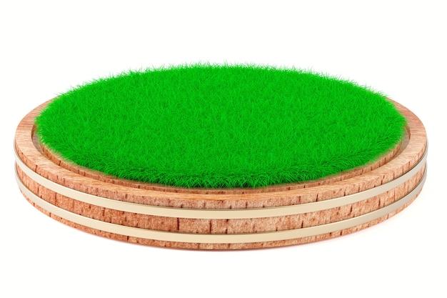 Erba sul piatto di legno