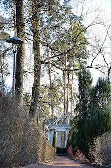 Sentiero di ghiaia tra i cespugli in prospettiva al gazebo in pietra nel parco