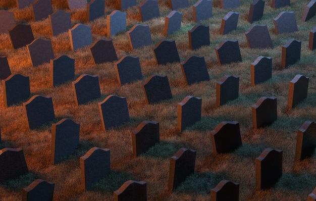 Modello di pietra tombale in un cimitero con illuminazione calda. rendering 3d