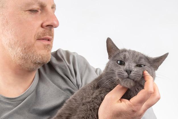 Gatto grigio che si siede sul petto dell'uomo