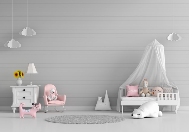 Interno camera da letto bambino grigio con spazio libero