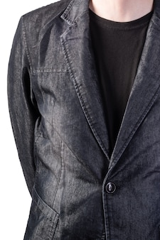 Giubbotto di jeans grigio. parte della figura maschile. isolato su sfondo bianco