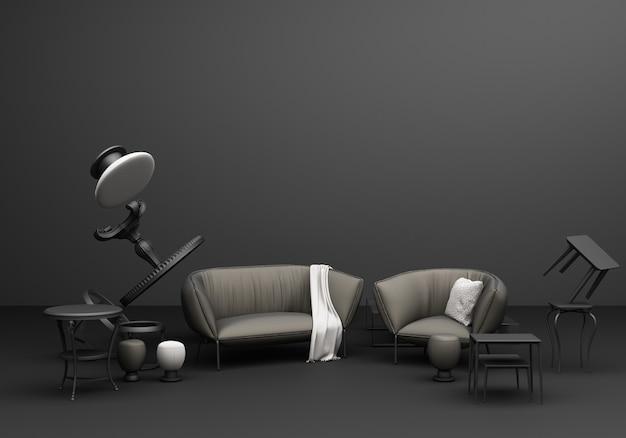 Composizione di divertimento poltrona divano classico mobili grigio su sfondo nero rendering 3d