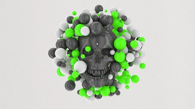Teschio grigio lucido, palline verdi e bianche volanti. illustrazione astratta, rendering 3d.