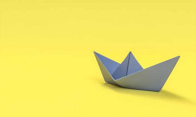 Barca di carta grigia sulla parete gialla. rendering 3d.