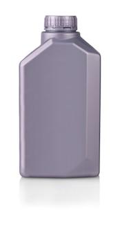 Latta di plastica grigia isolata su priorità bassa bianca.