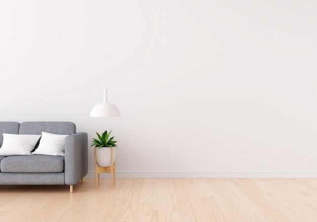 Divano grigio in soggiorno bianco