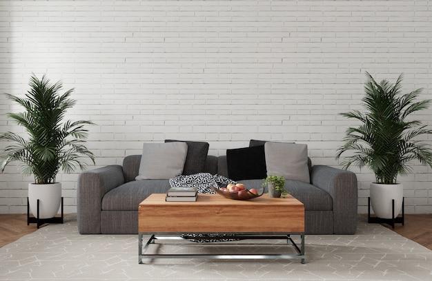 Divano grigio e tavolo in legno nel soggiorno bianco, rendering 3d