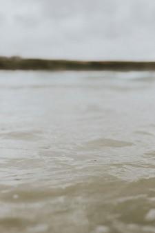 Morbide onde dell'oceano grigie in una giornata uggiosa