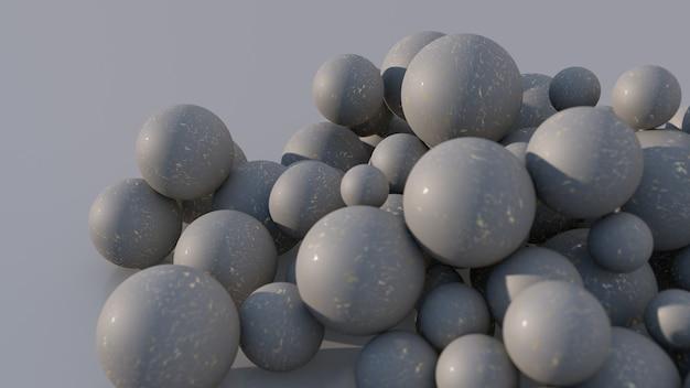 Sfere testurizzate grigie. sfondo grigio, primo piano. illustrazione astratta, rendering 3d.