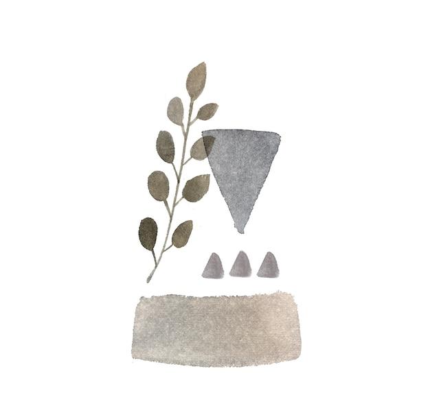 Composizione geometrica dell'acquerello grigio. pittura astratta con triangoli e ramo di inchiostro. stampa di abbigliamento, elemento di design per cancelleria, riviste e pianificatori.