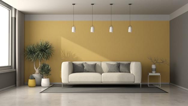 Soggiorno grigio e giallo con divano moderno, tavolino da caffè e piante d'appartamento - rendering 3d