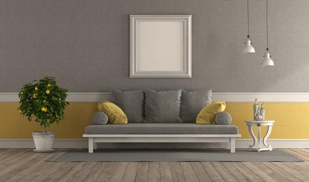 Soggiorno retrò grigio e giallo con divano e cornice in bianco - rendering 3d