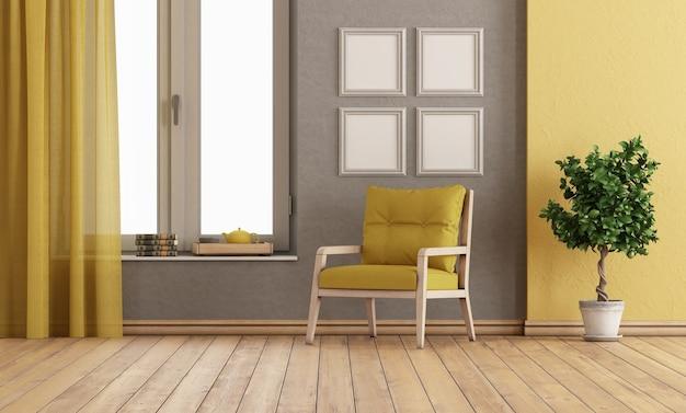 Camera grigia e gialla con poltrona e ampia finestra - rendering 3d