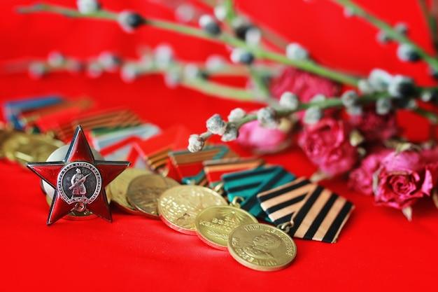 Grandi medaglie di guerra patriottica Foto Premium
