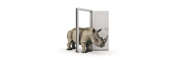 Il grande rinoceronte entra attraverso il rendering 3d della porta aperta