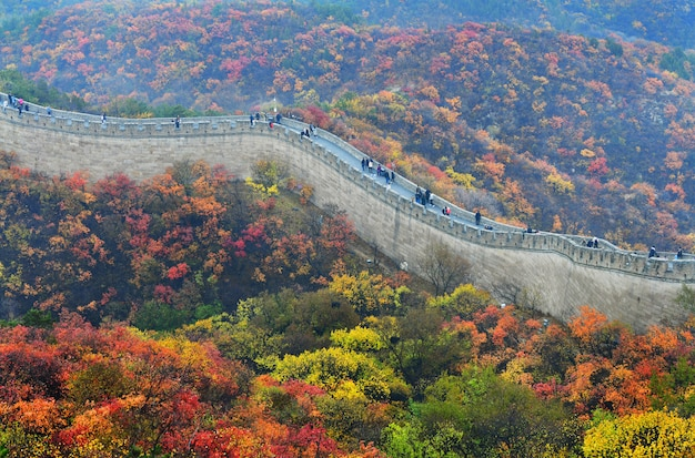 La grande muraglia cinese in autunno