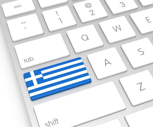 Bandiera della grecia sulla chiave del computer. rendering 3d