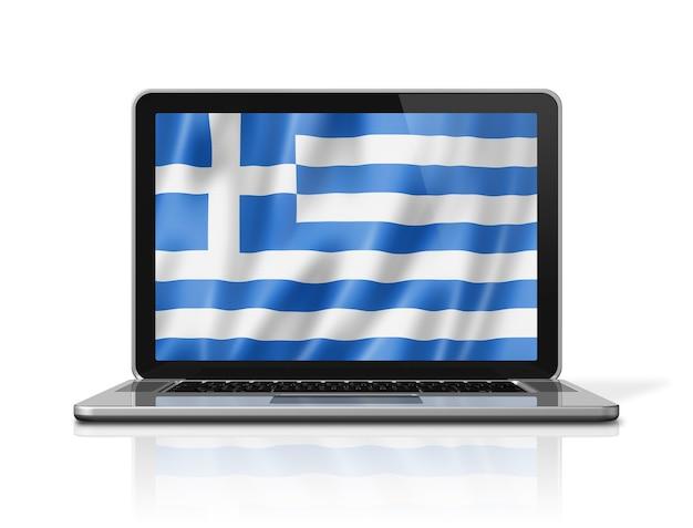 Bandiera della grecia sullo schermo del computer portatile isolato su bianco. rendering di illustrazione 3d.
