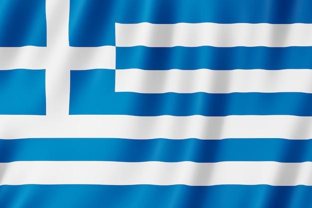 Bandiera della grecia che sventola nel vento.