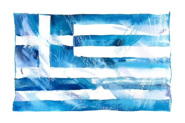 Grecia, bandiera greca. illustrazione dell'acquerello disegnato a mano.
