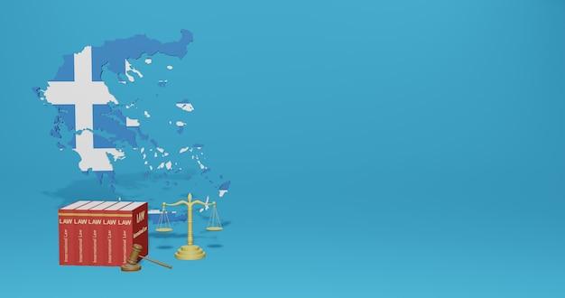 Legge greca per le infografiche, i contenuti dei social media nel rendering 3d