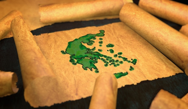 Grecia mappa pittura unfolding old paper scorrimento 3d Foto Premium