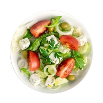 Vista dall'alto di insalata greca o horiatiki
