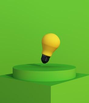 Podio geometrico di rendering 3d verde con lampadina gialla per l'esposizione del prodotto