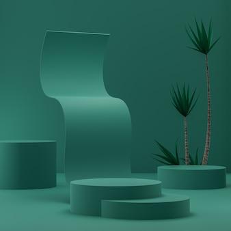 Podio astratto verde su fondo oro per l'inserimento di prodotti con rendering 3d di alberi tropicali