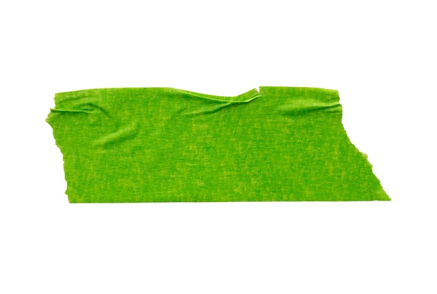 Nastro di carta adesivo verde isolato su sfondo bianco