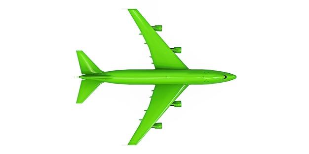 Aeroplano verde su sfondo bianco isolato. grandi aerei passeggeri di grande capacità per lunghi voli transatlantici. illustrazione 3d.