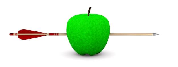 Mela verde e freccia su superficie bianca. illustrazione 3d isolata