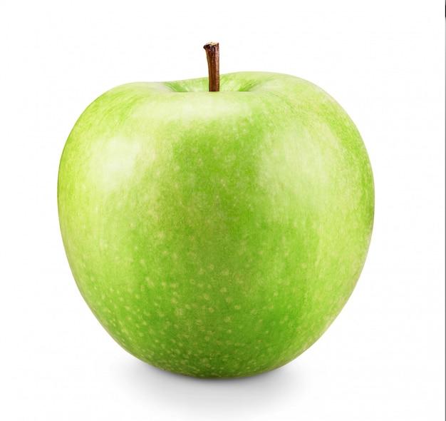 Mela verde isolato su sfondo bianco.