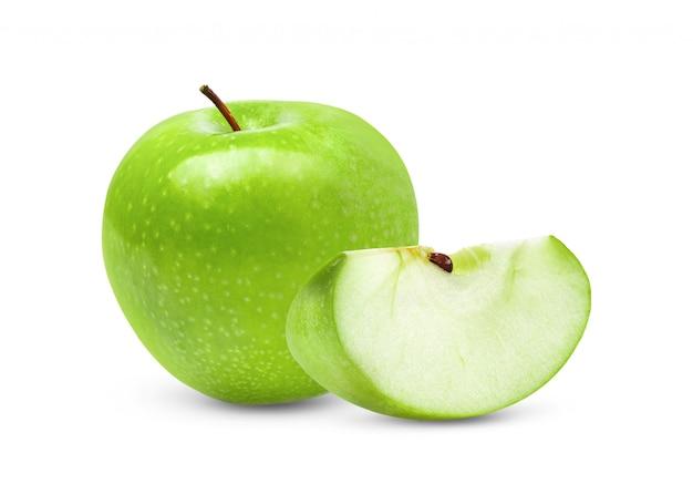 Mela verde isolata su spazio bianco