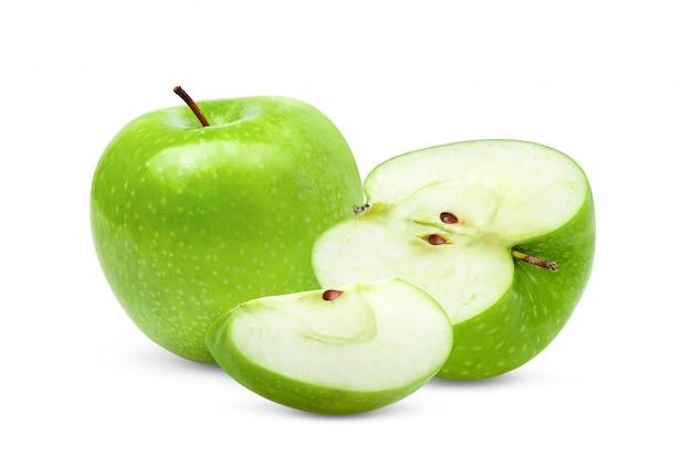 Mela verde su sfondo bianco