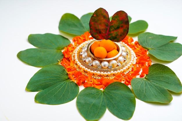 Foglia verde apta e riso, festival indiano dussehra
