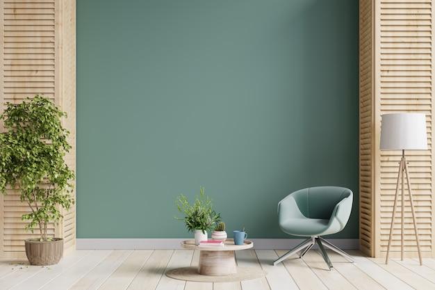 Poltrona verde e un tavolo in legno all'interno del soggiorno con pianta, parete verde scuro. rendering 3d