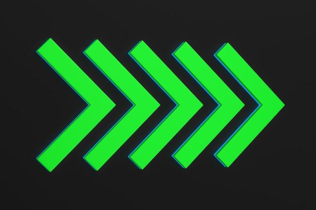 Freccia verde su sfondo nero. illustrazione 3d isolata