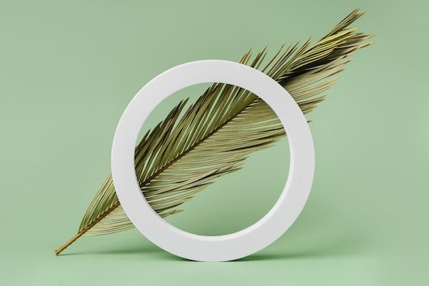 Sfondo verde con foglia di palma per la presentazione del marchio e della confezione