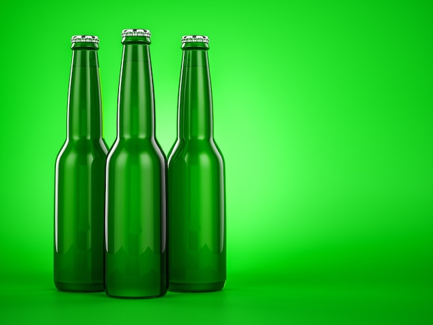 Bottiglia di birra verde marrone senza etichetta. illustratore 3d