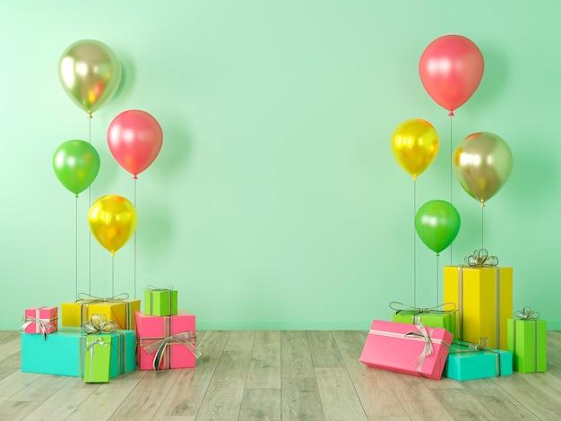 Parete bianca verde, interni colorati con regali, regali, palloncini per feste, compleanni, eventi. 3d render illustrazione, mockup.